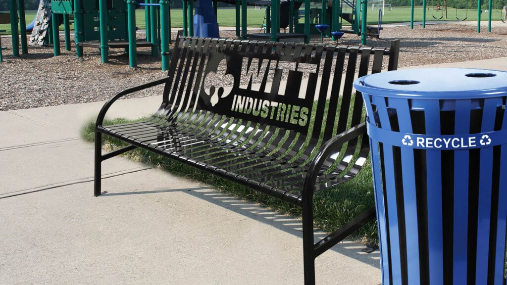 Witt Industries Bench and Recycling Can